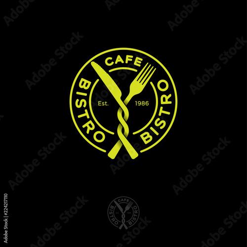 Fototapeta Bistro restaurant or cafe logo