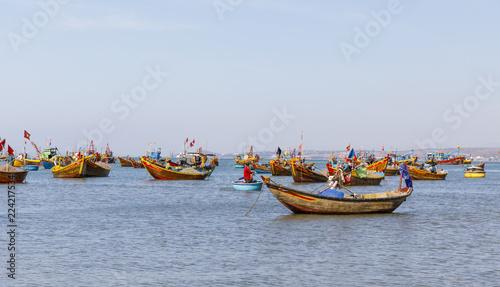 Fishing harbor full of boats in a bay in Mui Ne, Vietnam