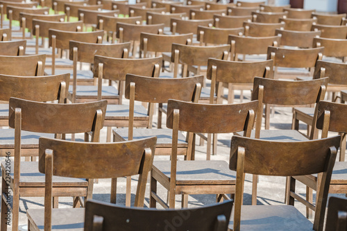Cuadros en Lienzo Commemoration memorial to the holocaust of Jews: art installation of empty chair