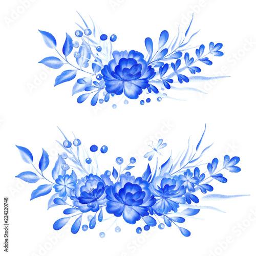 Fotografija  Watercolor blue flowers