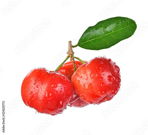 Barbados cherry, Malpighia emarginata,with drops of water isolated on white back Wallpaper Mural