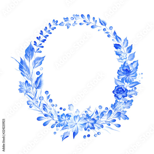 Fotografija  Watercolor blue wreath