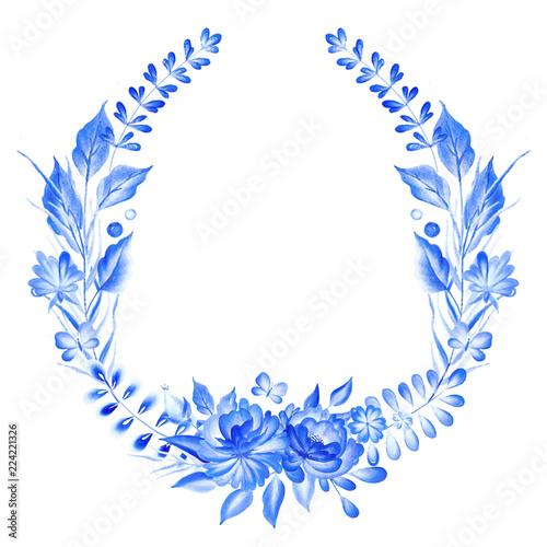 Fotografija  Watercolor blue wreath  in gzhel style.Floral background.