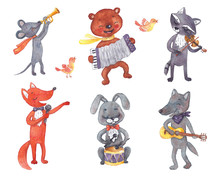 Forest Animals With Musical Instruments.
