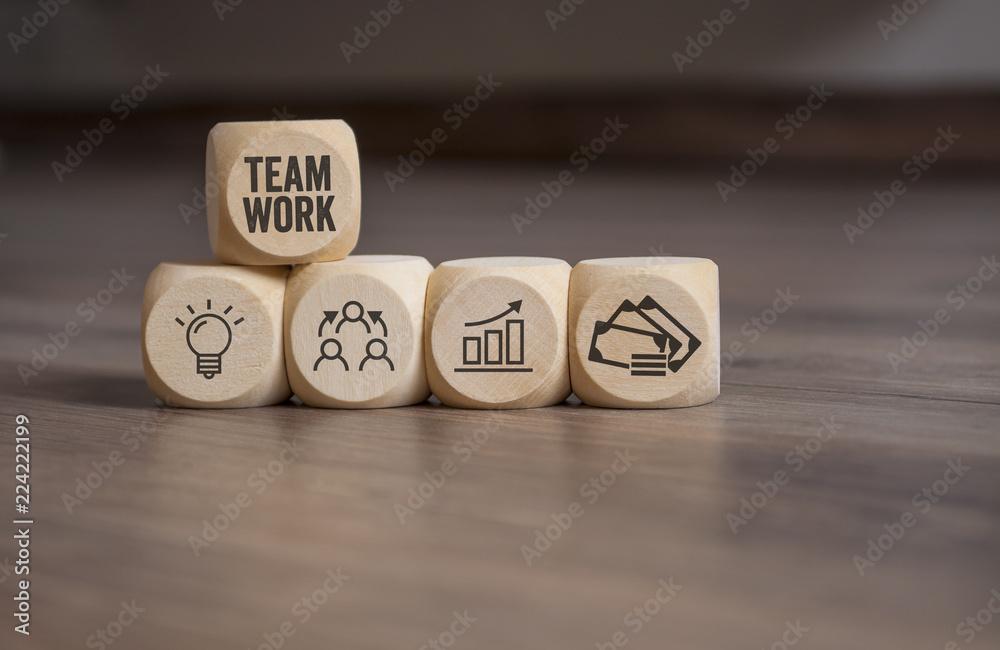 Fototapeta Business Würfel Geschäftserfolg Teamwork