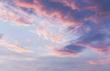 Pink Clouds On Blue Sunset Sky
