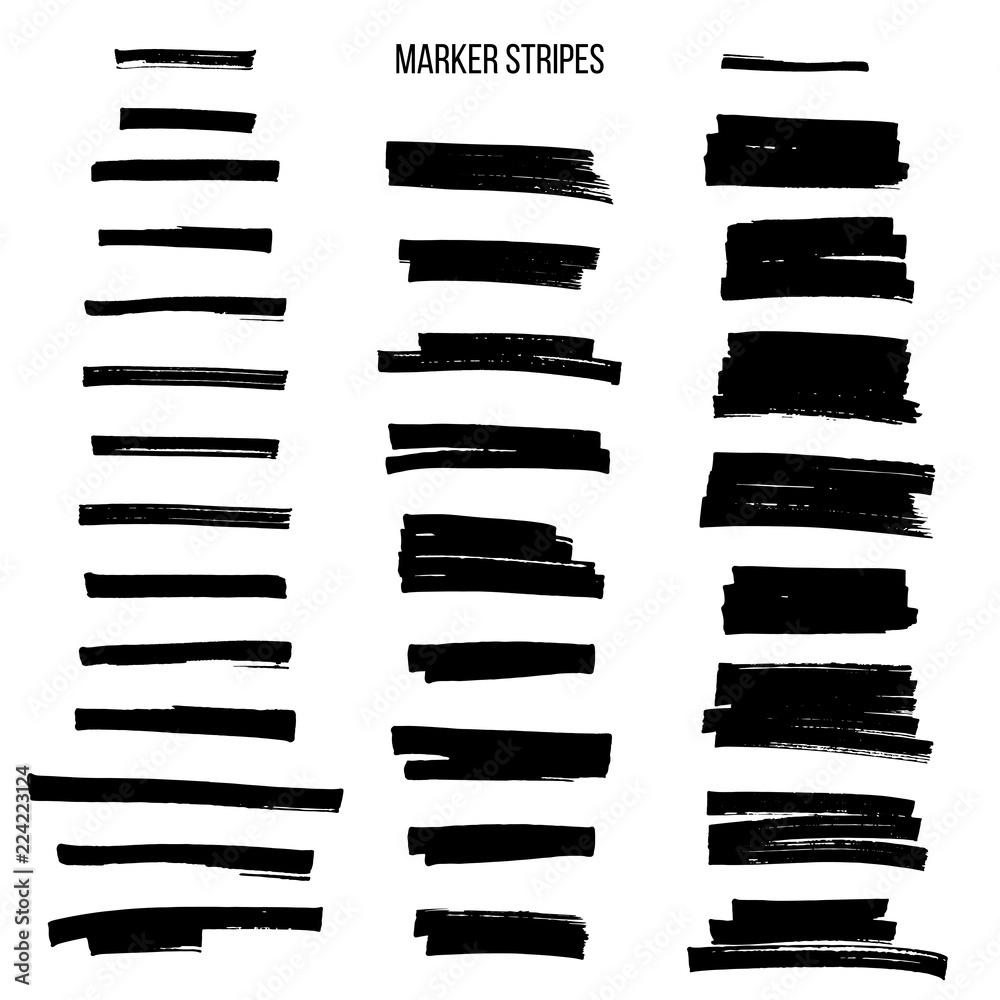 Fototapety, obrazy: Black highlight marker stripes isolated on white background. Vector design elements.