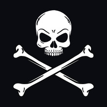 Evil Looking Horror Skull. Black Background. Outline, Vector, Tattoo, Halloween, Poisonous, Deadly, Isolated