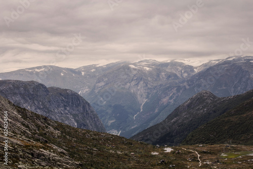 Staande foto Bleke violet Rugged dramatic mountain landscape in norway cloudy dramatic day