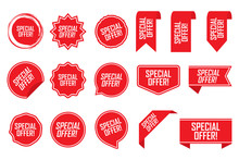 Special Offer Tag Set In Red. ...