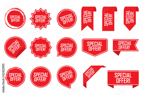 Cuadros en Lienzo  Special offer tag set in red. Vector illustration