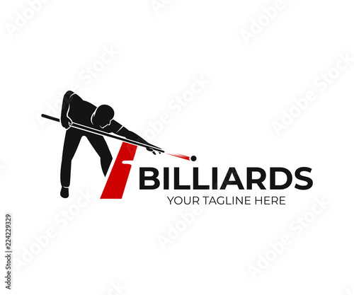 Papel de parede Pool billiards, human next to red table with snooker cues and balls, logo design