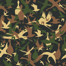 Seamless Camouflage With Flying Birds