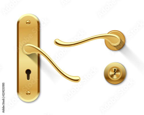Obraz Metal door handles and door lock - fototapety do salonu