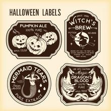 Halloween Bottle Labels Potion Labels. Vector Illustration.