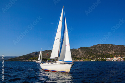 Sailing regatta. Luxury yachts at Aegean Sea. Cruise yachting.