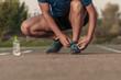 sport shoes. tie shoelaces