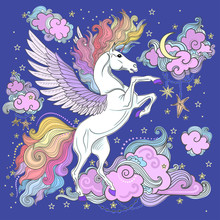 A Beautiful Unicorn Among The Clouds And Stars. Hand-drawn. Vector