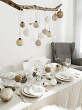 Table Set For Christmas Dinner.