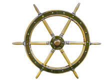 Vintage Wooden Ship Steering W...
