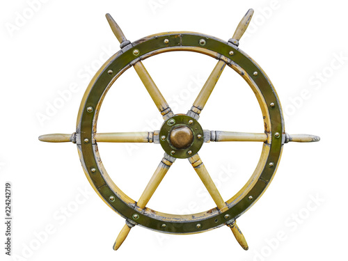 Photo Stands Ship Vintage wooden ship steering wheel rudder isolated on a white background. Old ship vintage, wooden steering wheel isolated on white background