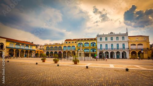 The Old Square, Plaza Vieja in Spanish, a touristic landmark in Old Havana, Cuba.