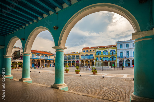 The Old Square or Plaza Vieja from the porch of the Fototeca de Cuba, Old Havana, Cuba Wallpaper Mural