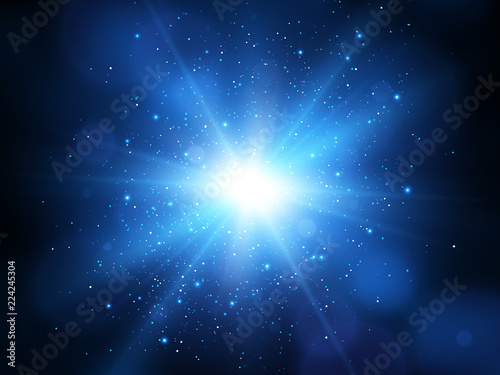 Obraz Blue explosion background with rays. Vector absrtact illustration EPS10 - fototapety do salonu
