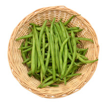 Green Beans In Basket On White Background