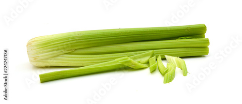 Deurstickers Verse groenten Green fresh celery stick isolated on white,