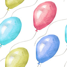 Watercolor Seamless Pattern Of Colored Balloons