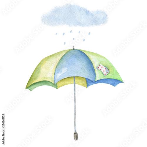 Fotografia  Watercolor image of umbrella with cloud and rain