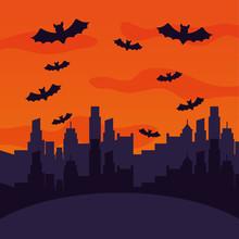 Halloween City With Bats Flyin...