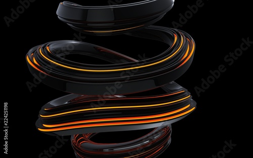 Black abstract wave spiral forms - orange light
