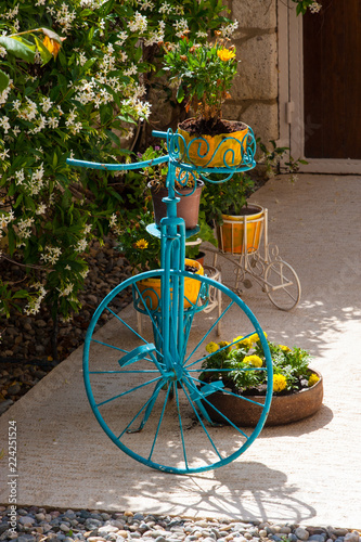 Staande foto Fiets old bicycle in green garden