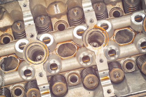 engine head cylinder with valve and oil - Buy this stock