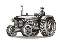 Retro Farm Tractor, Sketch. Vi...