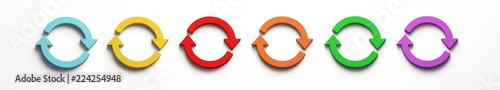 Photo Set of Rotate Symbol. 3D Render Illustration