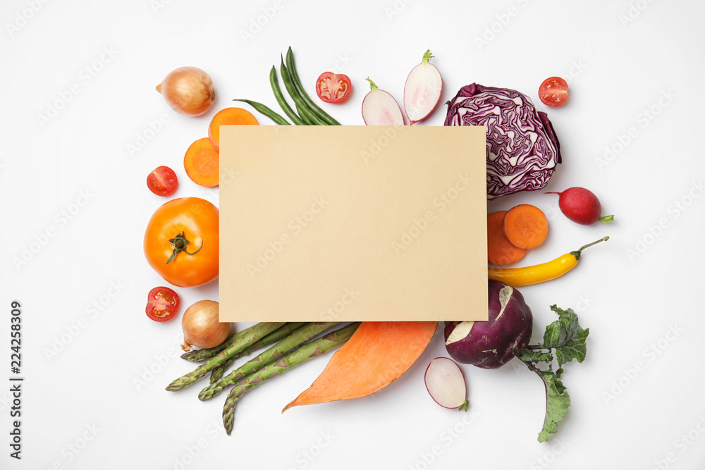 Fototapety, obrazy: Flat lay composition with fresh vegetables and blank card for text on white background