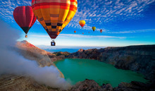 Colorful Hot Air Balloons Flying Over Crater Kawah Ijen At Bondowoso, Indonesia