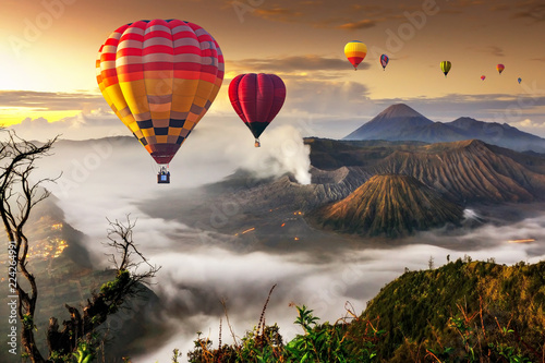 Poster Montgolfière / Dirigeable Colorful hot air balloons flying over Mount Bromo volcano in Bromo Tengger Semeru National Park, East Java, Indonesia..