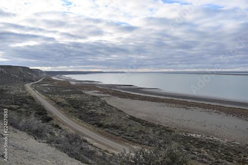 Spoed Foto op Canvas Zuid-Amerika land Atardecer de domingo vista aerea de la costa en la patagonia