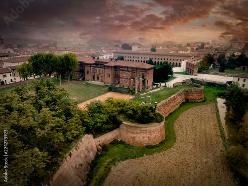 Aerial view of the perfect planned renaissance city of Sabbioneta in Italy with dramatic sky