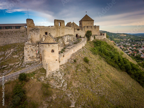 Photo Stands Melon Aerial panoramic view of medieval ruined Sumeg castle near lake Balaton Hungary