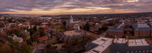 Annapolis Maryland Capitol Aerial View Panorama At Sunset