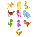 Fototapeta Dinusie - the collection of the little dinosaur with the different species
