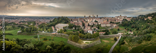 Canvas Print Bergamo upper town citta alta panoramic aerial view