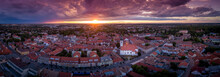 Stunning Sunset With Purple Red Blue Orange And Yellow Colors Over Mosonmagyarovar Roman Catholic Church And Castle In Hungary