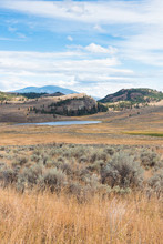View Of White Lake And Surrounding Grasslands And Mountains In Autumn In The South Okanagan