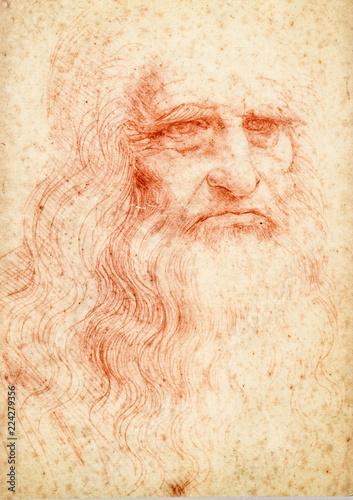 Leonardo da vinci portrait postcard Canvas Print